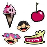 Ice cream,pie and happy kids — Stock Photo