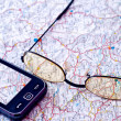 Mobile GPS and map - Stock Photo
