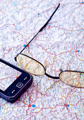 Mobile GPS and map — Stock Photo