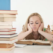 Bored and tired student after hard work — Foto de Stock