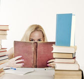 Girl hiding behind the book, — Stock Photo