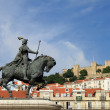 View of Lisbon with a medieval castle - Stock Photo