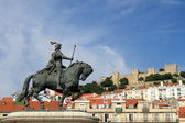 View of Lisbon with a medieval castle — Stock Photo