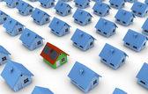 太阳能电池板与一绿房子 — 图库照片