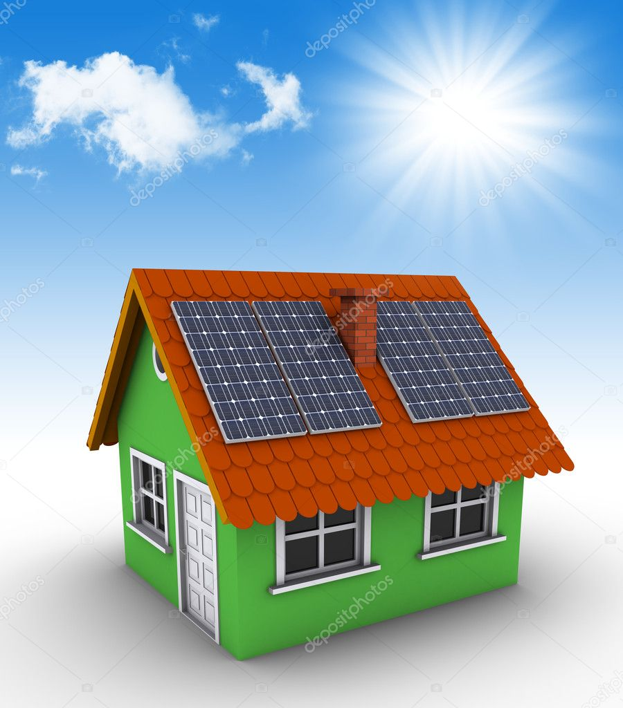 Simple green house with solar panels on the roof. 3d rendered bitmap — Stock Photo #5467626