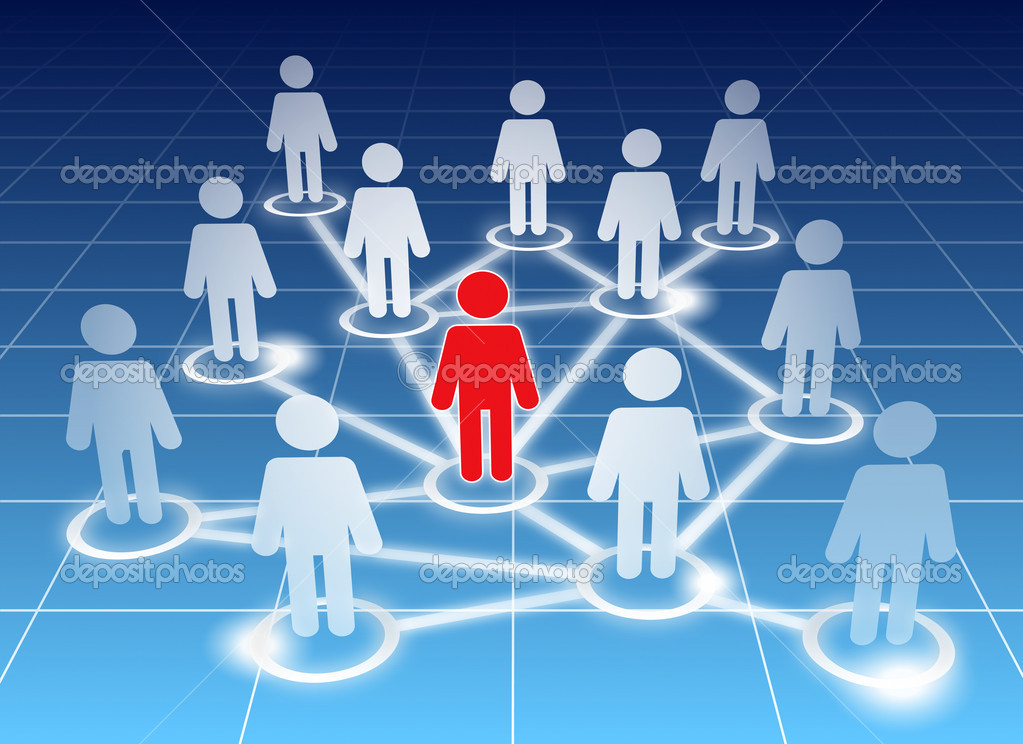 Schematic view of a social networking members on blue  Stock Vector #5592314