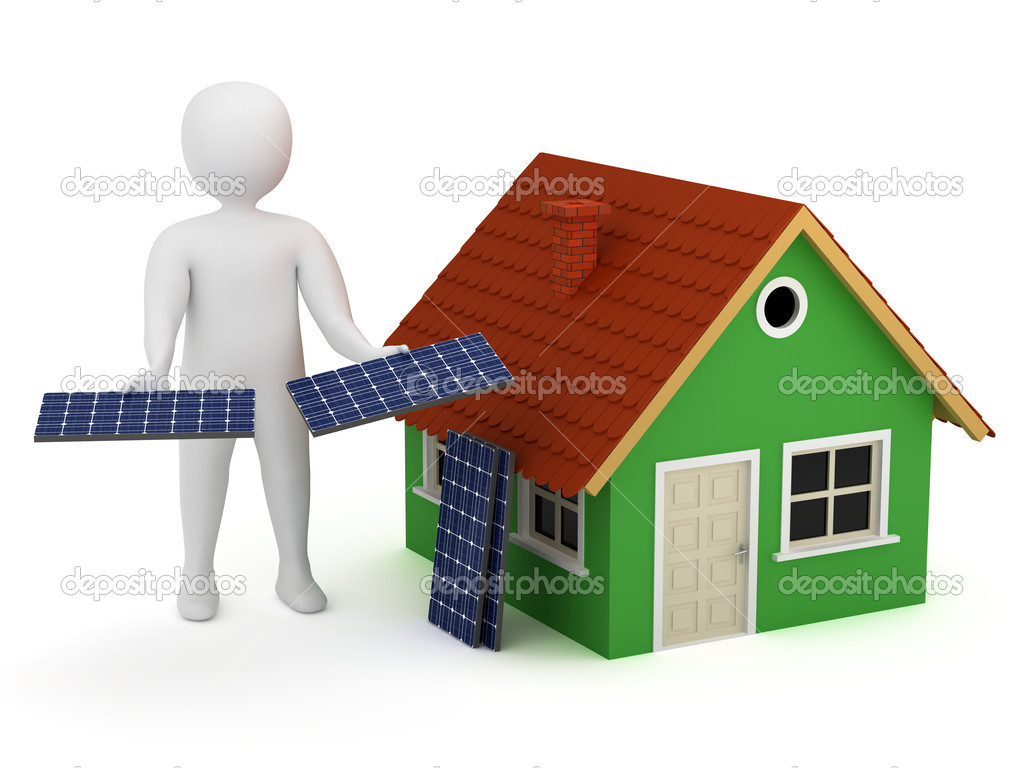 3d man offering solar panels for green house. Alternative, renewable energy concept  Stock Photo #5632349