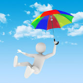 3d man flying with umbrella — Stock Photo