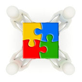 3d men holding assembled jigsaw puzzle pieces — 图库照片