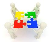 3d uomini tenendo assemblati pezzi di puzzle jigsaw — Foto Stock