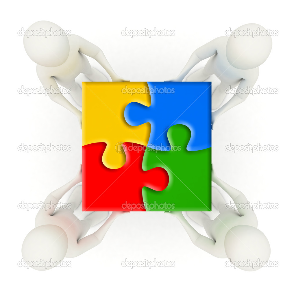 Four 3d men holding colorful, assembled jigsaw puzzle pieces  Stock Photo #5704662