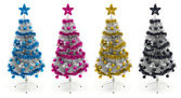 Cyan, magenta, yellow and black christmas trees — Stok fotoğraf