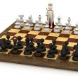 3d man on chess board as king — Stock Photo