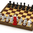 3d man on chess board as king — Stock Photo #5778146