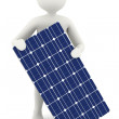 3d white man holding solar panel — Stock Photo