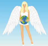 The girl an angel with earth — Stock Vector