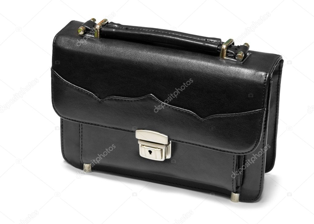 Black business briefcase is isolated on a white — Stock Photo #5779832