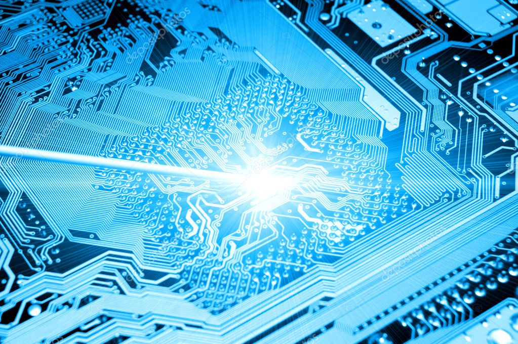Blue circuit board. high technolgy abstract — Stock Photo #5978283