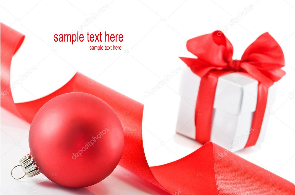 Christmas ball and gift isolated  Stock Photo #6716258