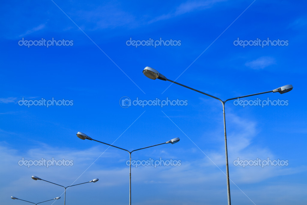Street lamps with blue sky  background — Stock Photo #5839058