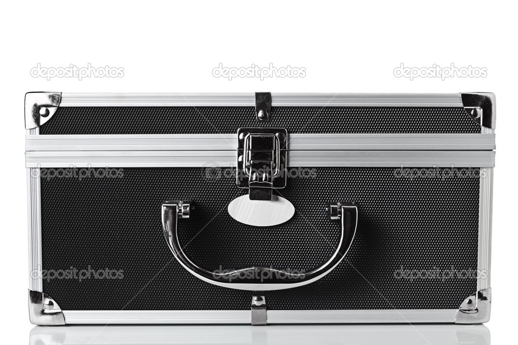 Carbon and aluminum safety case isolated over white background — Stock Photo #5436223