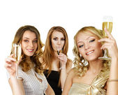 Group of women with champagne — Stock Photo
