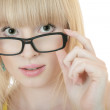 Surprised woman in glasses — Stock Photo
