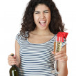 Beautiful young woman with wine — Stock Photo