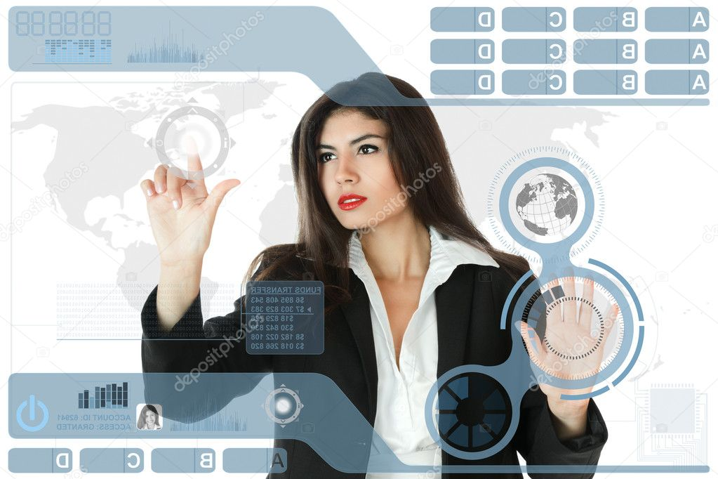 Young serious businesswoman working on modern touch screen — Stock Photo #5977963