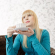 Woman with tea — Stock Photo