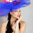Woman in fashionable hat — Stock Photo