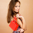 Girl with very small shopping bag — Stock Photo #6666234