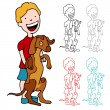 Royalty-Free Stock Vector Image: Boy with a Large Puppy
