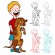 Boy with a Large Puppy — Stock Vector