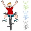 Stock Vector: Riding Bicycle Without Hands