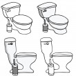 Stock Vector: Toilet Commode Set