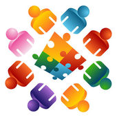 Puzzel oplossen team — Stockvector