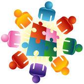 Table ronde puzzle résolvant équipe — Vecteur