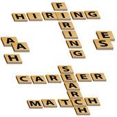 Crossword Hiring Firing Career Search Match — Stock Vector