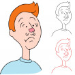Man Wearing Chewing Gum on His Nose — Vector de stock