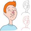 man met kauwgom op zijn neus — Stockvector