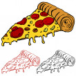 Stock Vector: Slice of Pizza
