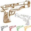 Stock Vector: Handgun Sketch