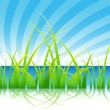 Stock Vector: Grass on a Lake