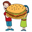 Children Holding A Giant Sized Burger — Stock Vector