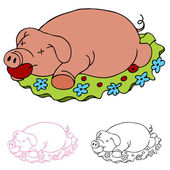Luau Roasted Pig — Stock Vector