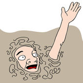 Sinking In Quicksand — Stock Vector
