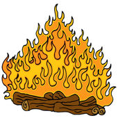 Campfire Cartoon — Stock Vector