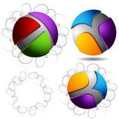 Résumé de sphères tracés du stylet bouclés — Vecteur