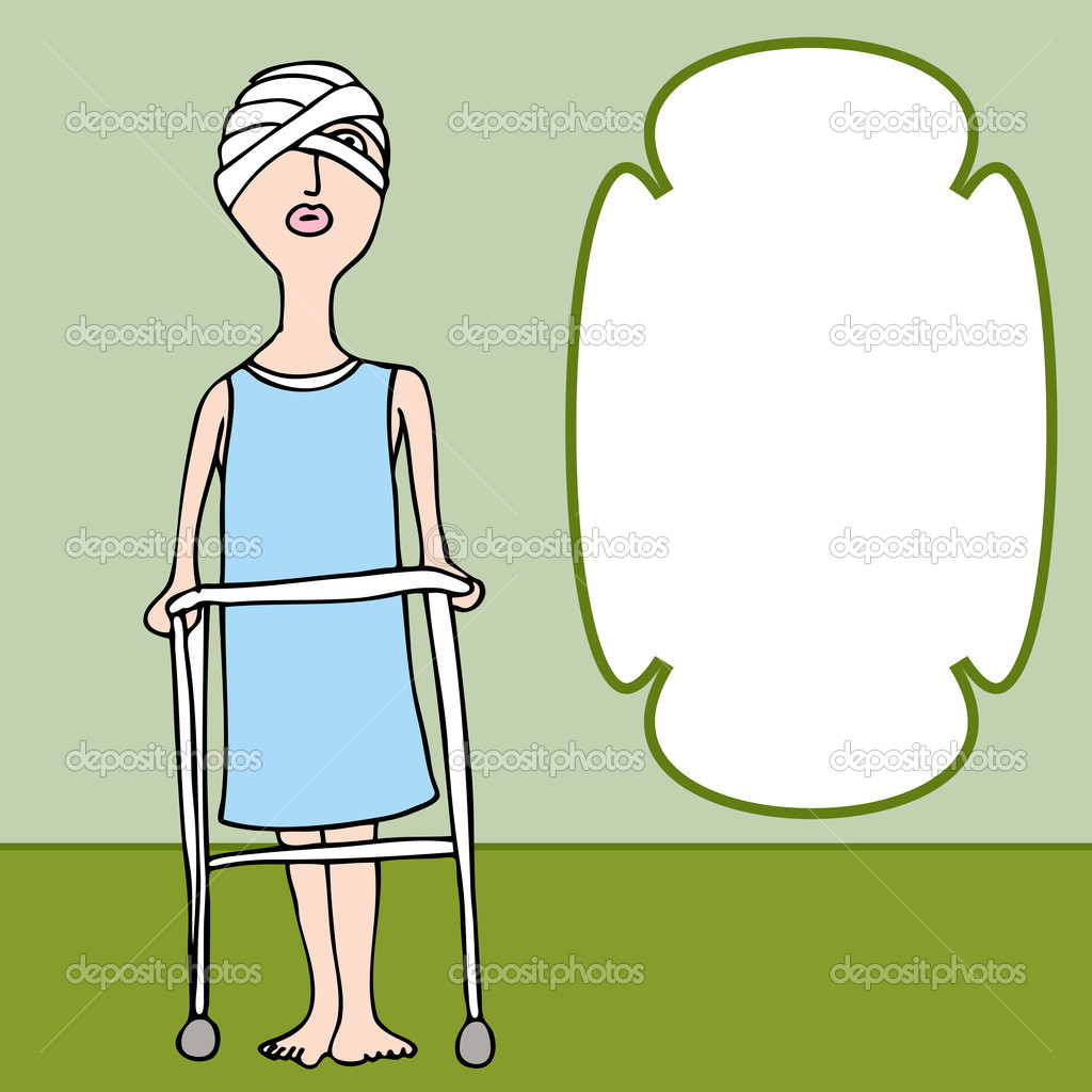 An image of a woman with a bandaged head injury.  Stock Vector #5482998